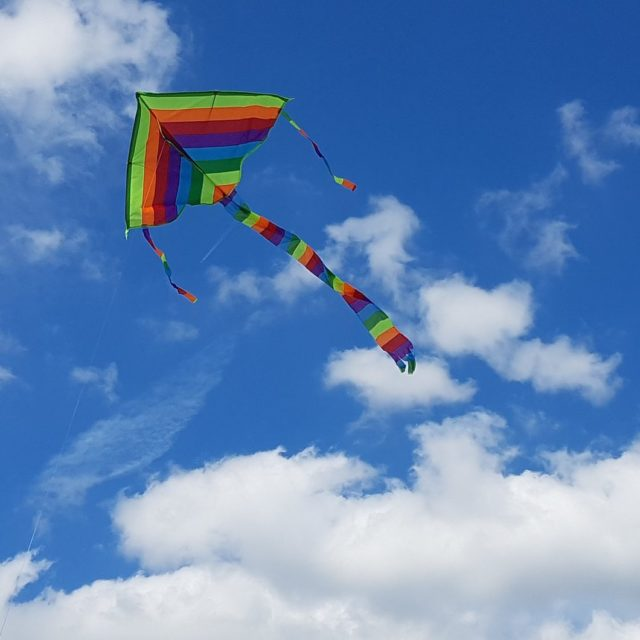 rainbow kite in sky